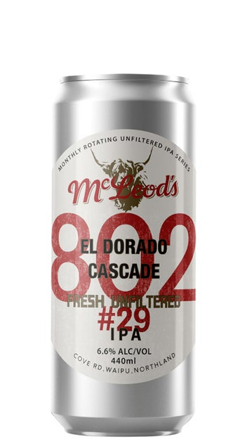 McLeod's 802 #29 Unfiltered IPA 440ml can