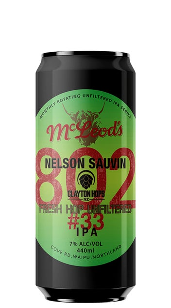 """McLeod's 802#33 Fresh Hop Unfiltered IPA"""" 440ml can"""