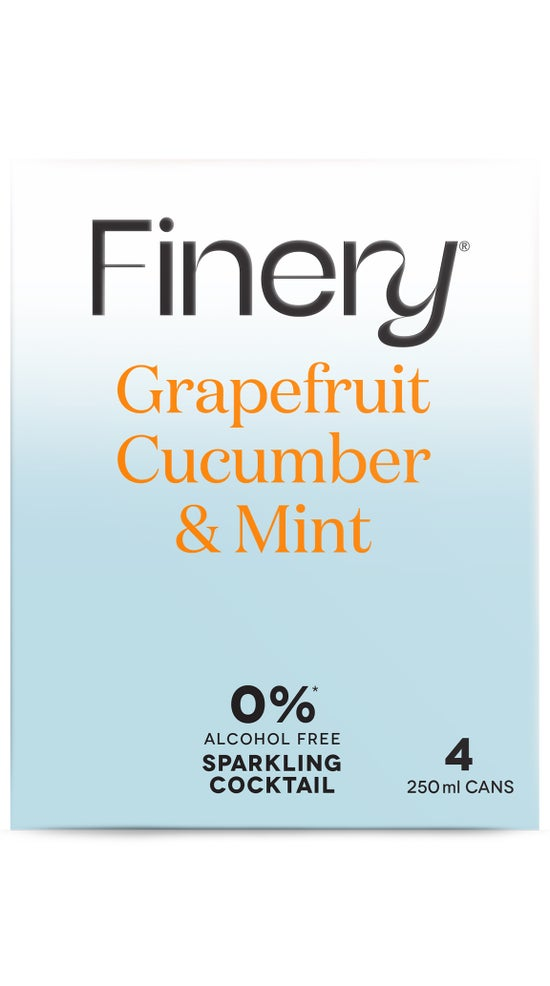0% Finery Sparkling Cocktail - Grapefruit Cucumber & Mint 4 pack