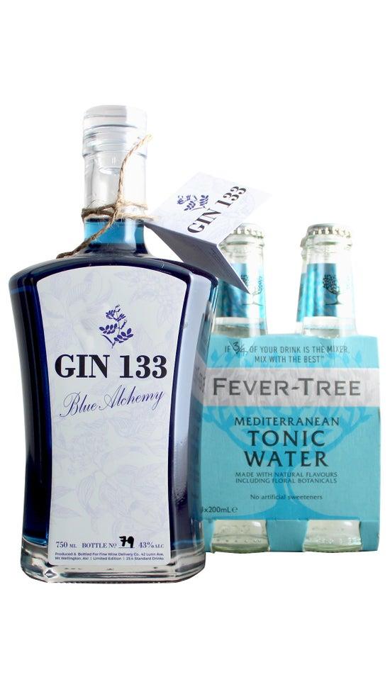 Gin 133 Blue Alchemy 750ml & Fever Tree Mediterranean tonic water 4 pack