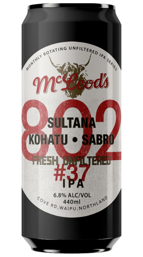 McLeod's 802#37 Unfiltered IPA 440ml can